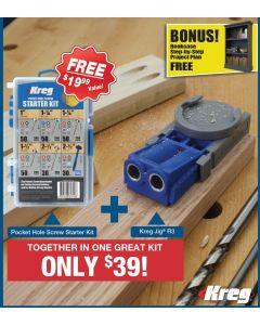 Kreg R3-PROMO-19 Jig Pocket Hole Kit with Screws | burnstools com